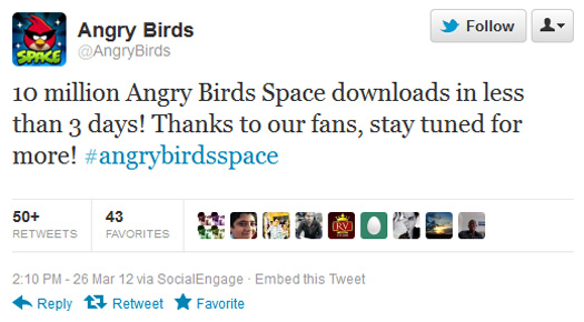 Angry Birds Space - 10 milyon