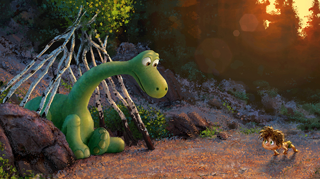 """""""The Good Dinosaur"""" tells the story of Arlo, a lively Apatosaurus with a big heart who sets out on a remarkable journey, gaining an unlikely companion along the way-a  human boy. Directed by Peter Sohn (""""Partly Cloudy"""") and produced by Denise Ream (""""Cars 2"""", """"The Good Dinosaur"""" opens in theaters Nov. 25, 2015. ©2014 Disney¥Pixar. All Rights Reserved."""