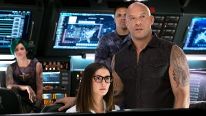 (L-R) Ruby Rose as Adele Yusef, Nina Dobrev as Rebecca Clearidge, Tony Gonzalez as Paul Donovan, and Vin Diesel as Xander Cage in xXx: RETURN OF XANDER CAGE by Paramount Pictures and Revolution Studios