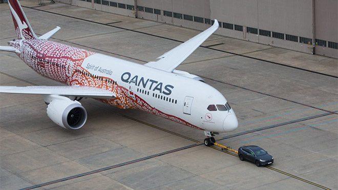 Tesla Model X Qantas Boeing 787-9 Dreamliner
