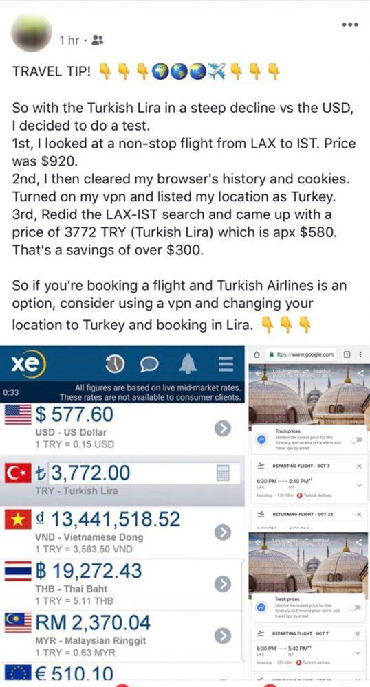 Türk Hava Yolları VPN dolar