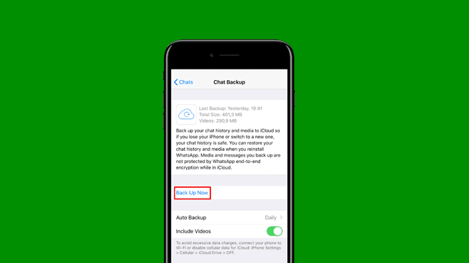 iOS işletim sistemleri telefonlarda WhatsApp yedeklerini geri yükleme
