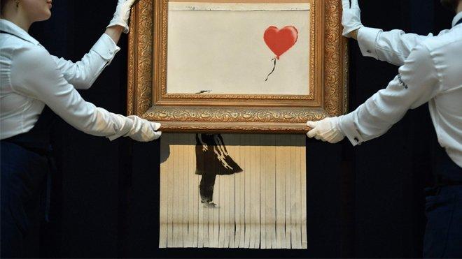 banksy, kendini imha eden tablo