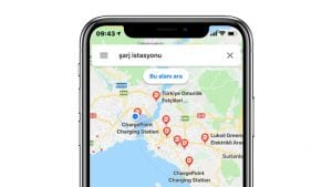 Google Haritalar elektrikli otomobil şarj istasyonu