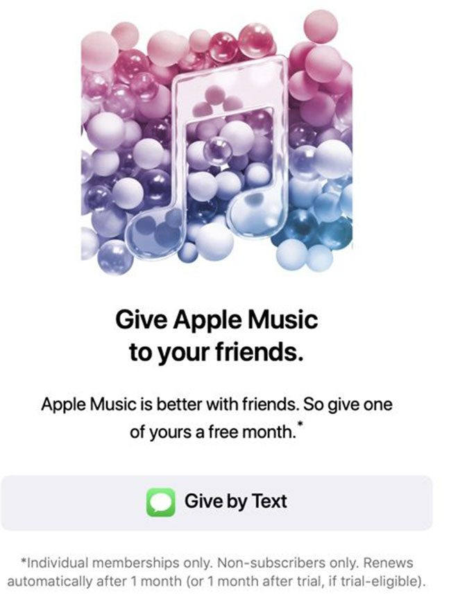 Apple Music hediye