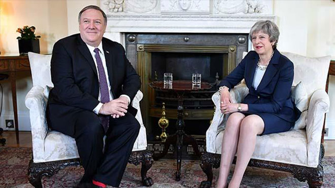 Mike Pompeo-Theresa-May Huawei