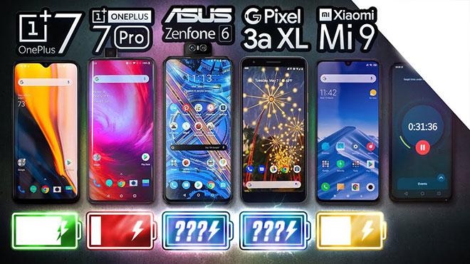 Asus Zenfone 6, OnePlus 7, OnePlus 7 Pro, Google Pixel 3a XL ve Xiaomi Mi 9, pil testinde karşı karşıya [Video]