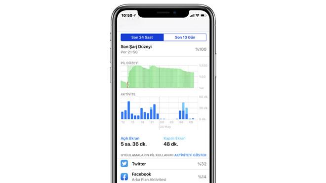 iOS ve Android için pil tüketen uygulamaları görüntüleme