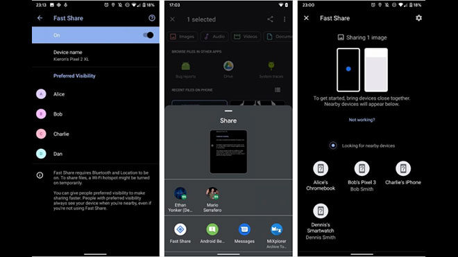 Android Google Fast Share