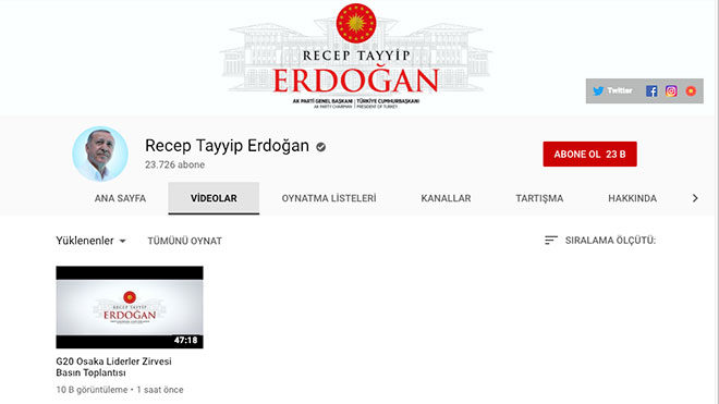 Türkiye Cumhuriyeti Cumhurbaşkanı Recep Tayyip Erdoğan YouTube
