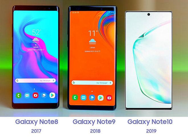 Tasarımsal açında Samsung Galaxy Note 8, Galaxy Note 9 ve Galaxy Note 10 karşı karşıya