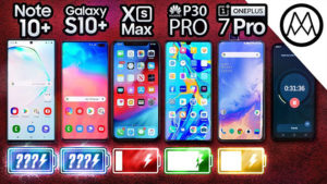 Galaxy Note 10 Plus, Galaxy S10 Plus, iPhone XS Max, P30 Pro ve OnePlus 7 Pro pil testinde karşı karşıya [Video]
