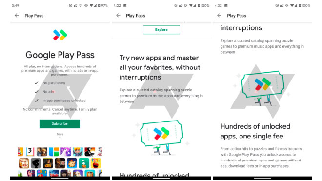 Google Play Store Play Pass
