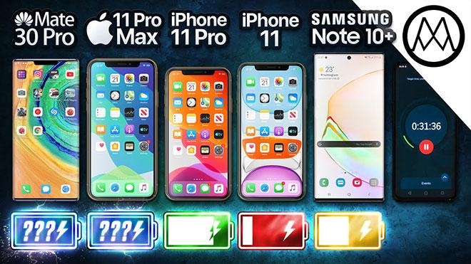 Huawei Mate 30 Pro, iPhone 11 Pro'lar, iPhone 11 ve Galaxy Note 10 Plus pil testinde karşı karşıya [Video]