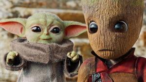 The Mandalorian dizisinin bebek Yoda'sını bebek Groot'la buluşturan kısa film