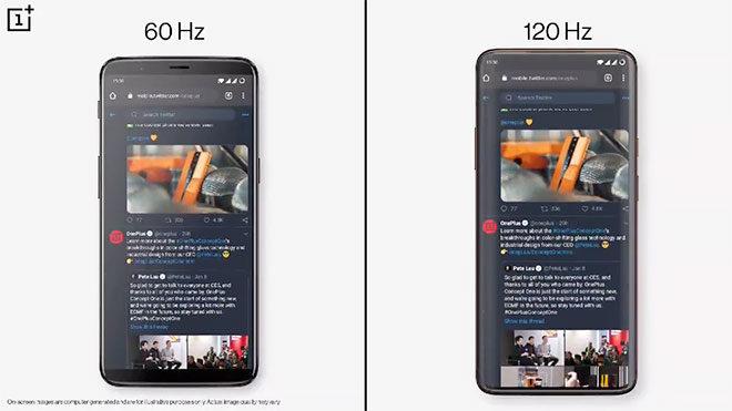 OnePlus 120 Hz ekran