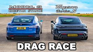 Tesla Model S vs Porsche Taycan Turbo S drag yarışı [İzle]