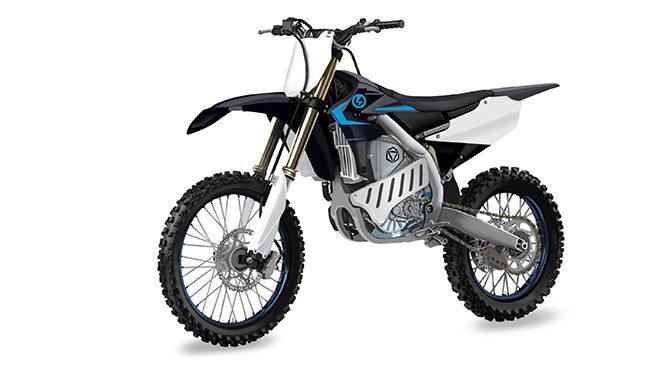 Yamaha imzasını taşıyan araziye özel elektrikli motosiklet