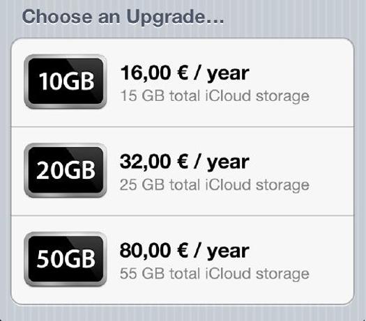 iCloud Avrupa fiyatları